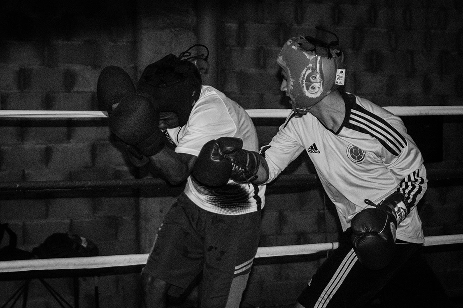 Two members of 'Bon Pantera' face each other during a boxing training. February 2, 2018.